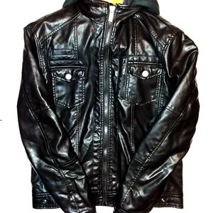 X-Ray Jeans Hooded Black Jacket Size Medium